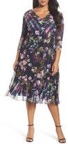 Komarov Plus Size Women's Print Chiffon A-Line Midi Dress