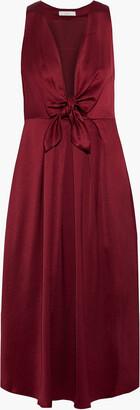 Joie Kataniya Knotted Pleated Satin Midi Dress