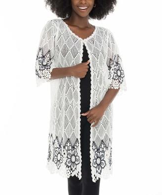 Shoreline Women's Open Cardigans WHITE - White Floral & Geometric Duster - Women & Plus