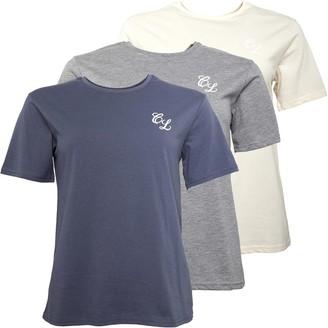 Closure London Womens Signature Three Pack T-Shirts Grey Marl/Grisalle/Stone