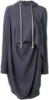 Rick Owens long draped hooded sweatshirt