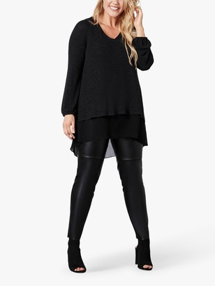 Live Unlimited Curve Blouson Tunic Top, Black