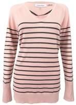Calvin Klein Women's Striped V-Neck Sweater (M, Pink/Black)