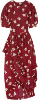 Simone Rocha Ruffled Asymmetric Printed Silk Midi Dress - Burgundy
