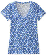 L.L. Bean West End Fitted Tee, Short-Sleeve V-Neck Ikat Print