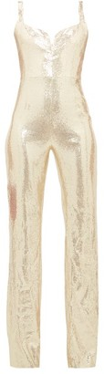 Galvan Galaxy Sequinned Jumpsuit - Womens - Light Gold