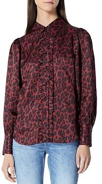 The Kooples Leopard Print Burgundy Shirt