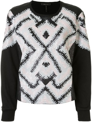 BCBGMAXAZRIA Geometric-Pattern Sequinned Sweatshirt