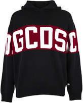 Gcds GCDS Black Wool Blend Branded Hoodie