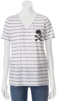 Disney Disney's Pirates of the Caribbean: Dead Men Tell No Tales Juniors' Skull Lace-Up Graphic Tee