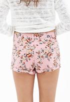 Forever 21 Antiqued Floral Denim Shorts