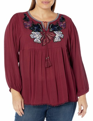 Vintage America Blues Women's Plus Size Celine Embroidered Peasant Top