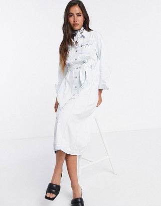 Levi's reed denim dress in bleach wash