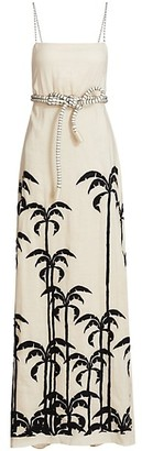 Johanna Ortiz Palm Tree Linen Maxi Dress