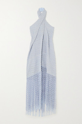 Jacquemus Cortese Fringed Appliqued Tweed Halterneck Maxi Dress - Light blue