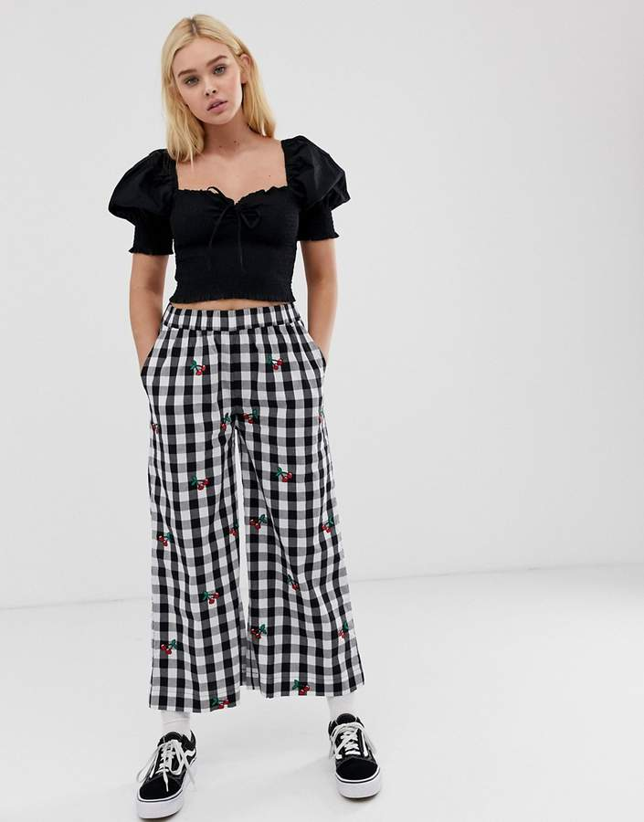 Lazy Oaf relaxed pants in gingham with cherry embroidery