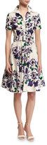 Samantha Sung Gigi Short-Sleeve Floral-Print Shirtdress, Purple