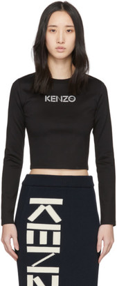 Kenzo Black Cropped Sport Long Sleeve T-Shirt
