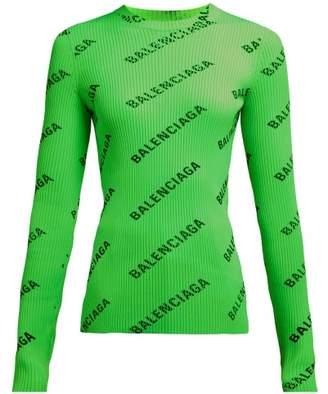 Balenciaga Diagonal Logo-printed Ribbed-knit Top - Womens - Green Multi
