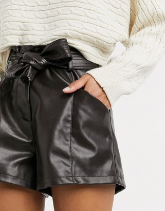 Morgan PU short with belt detail in chocolate brown