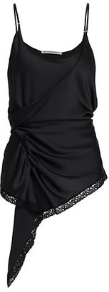 alexanderwang.t Draped Asymmetric Lace-Trim Tank Top