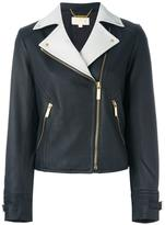 MICHAEL Michael Kors zipped pocket biker jacket - women - Leather/Polyester/Spandex/Elastane - S