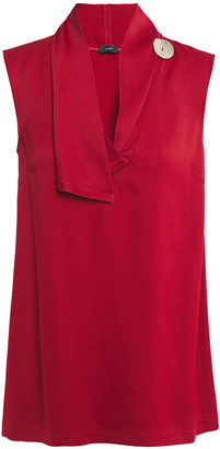 Joseph Siof Button-embellished Draped Satin-crepe Top