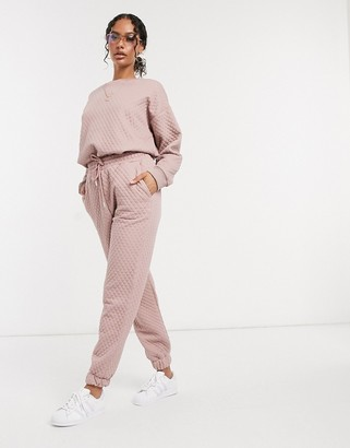 ASOS DESIGN co-ord quilted sweatpants in dusty blush