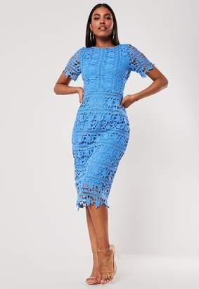 Missguided Blue Crochet Open Back Midi Dress