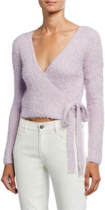 Astr Fuzzy Wrap-Front Sweater
