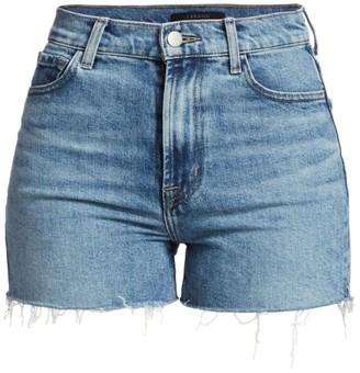 J Brand Jules High-Rise Frayed Hem Denim Shorts