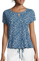 Liz Claiborne Short-Sleeve Drawstring Tee - Tall