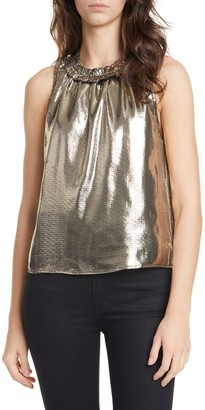 Dolan Prasong Ruffle Neck Metallic Silk Sleeveless Blouse