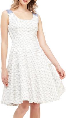 Gal Meets Glam Women's Casual Dresses IVORY/WHITE/DEEP - Ivory & Deep Gray Pin Dot Liliana Sleeveless A-Line Dress - Women & Juniors
