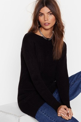 Nasty Gal Womens Hands Off-the-Shoulder Knitted Sweater - Black