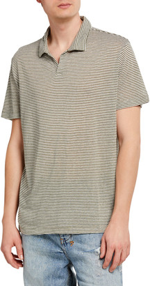 Onia Men's Shaun Striped Linen Polo Shirt