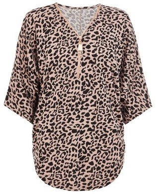 Dorothy Perkins Womens *Quiz Multi Colour Leopard Print Zip Knitted Top