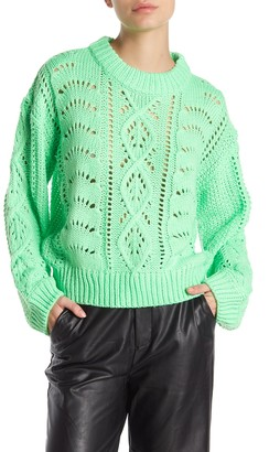 Emory Park Neon Pointelle Cable Knit Sweater