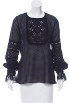 Andrew Gn Embroidered Lace-Accented Blouse