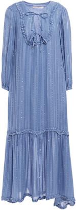 SUNDRESS Ruffle-trimmed Embellished Metallic Gauze Midi Dress