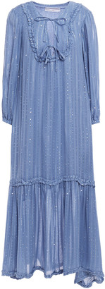 SUNDRESS Ruffled Embellished Gauze Midi Dress
