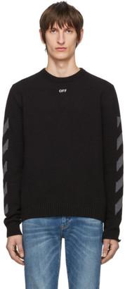 Off-White Black Melange Diag Sweater