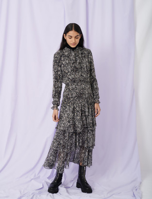 Maje Printed lurex silk dress with ruffles