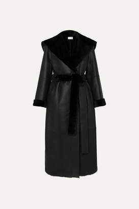The Row Riona Hooded Belted Shearling Coat - Black