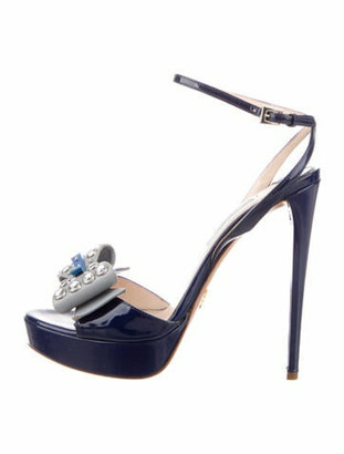Prada Patent Leather Crystal Embellishments Sandals Blue