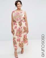 Asos SALON Pretty Floral Soft Midi With Embellished Bodice