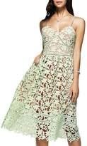 Dezzal Women's Elegant Spaghetti Straps Backless Crochet Lace Midi Dress (S, )