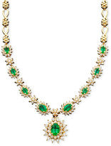 Effy Royalty Inspired by Sapphire (4-3/8 ct. t.w.) and Diamond (1-2/3 ct. t.w.) Necklace in 14k White Gold (also Emerald)