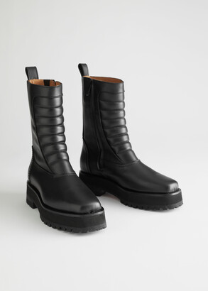And other stories Square Toe Leather Biker Boots