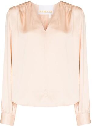 REMAIN V-neck satin-effect blouse